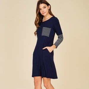 Dresses & Skirts - ALL  SIZES!!!  3/4 Sleeve Contrast Stripe Dress